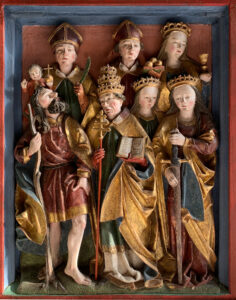 Chapel of St Ulrich and St Afra, Ruswil (Canton of Lucerne), grouping of the Fourteen Holy Helpers, 1593. Top centre: Nicholas with three balls of gold; right: St Barbara with a chalice; lower left: St Christopher with staff and child.