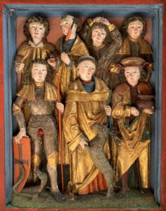 Late Gothic at its finest – solemn, gracious, dignified. Top centre: Erasmus with a windlass; next to him: Denis, plagued by a headache; lower left: George with spear, shield and dragon.