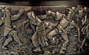 Darstellung eines Bauerntanzes auf einer Spanischsuppenschüssel aus der Glocken- und Geschützgiesserei Füssli, um 1600