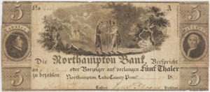 Banknote issued by Northampton Bank for 5 thalers, Lecha County, Pennsylvania, 1836