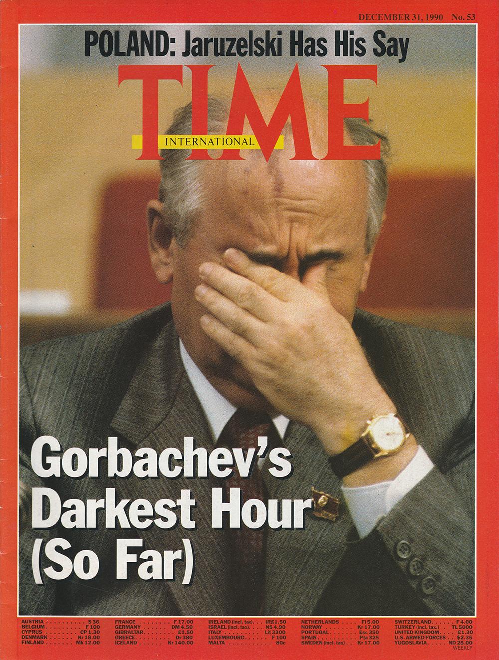 Gorbatschow mit einer Uhr von Vulcain auf dem Cover des Time Magazine.