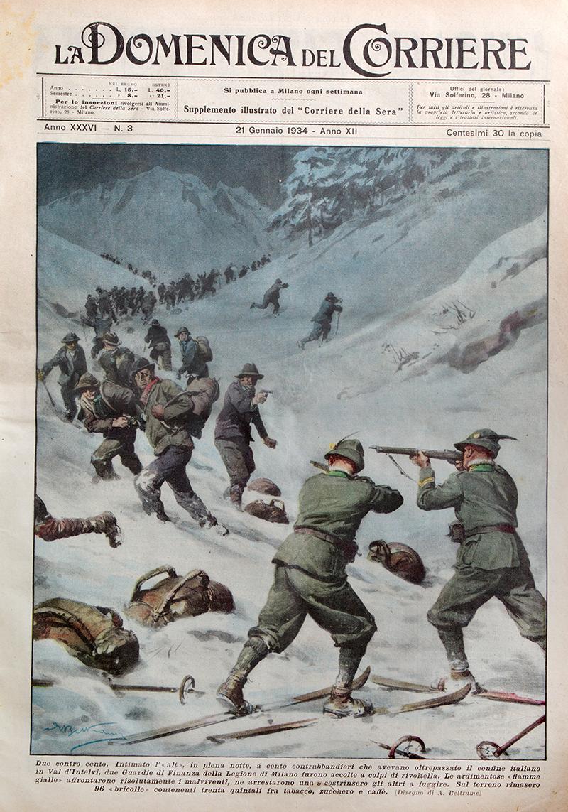 Représentation d'une bande de contrebandiers interceptée en 1934 dans le Val d'Intelvi dans La Domenica del Corriere.