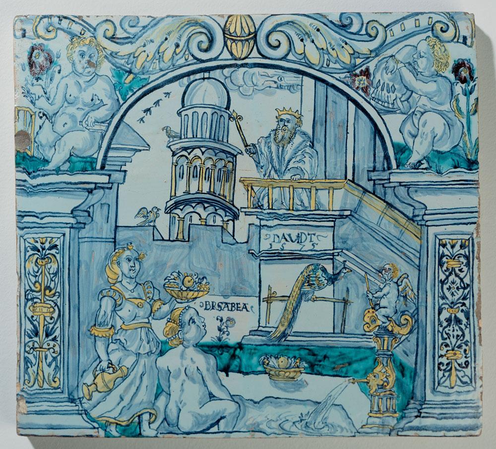 Füllkachel mit König David und Bathseba beim Bade.