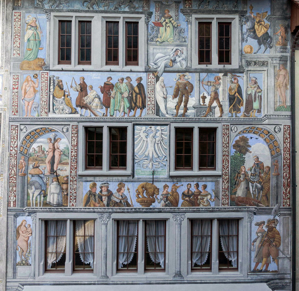 Fassadenmalereien am Haus Zum Weissen Adler.