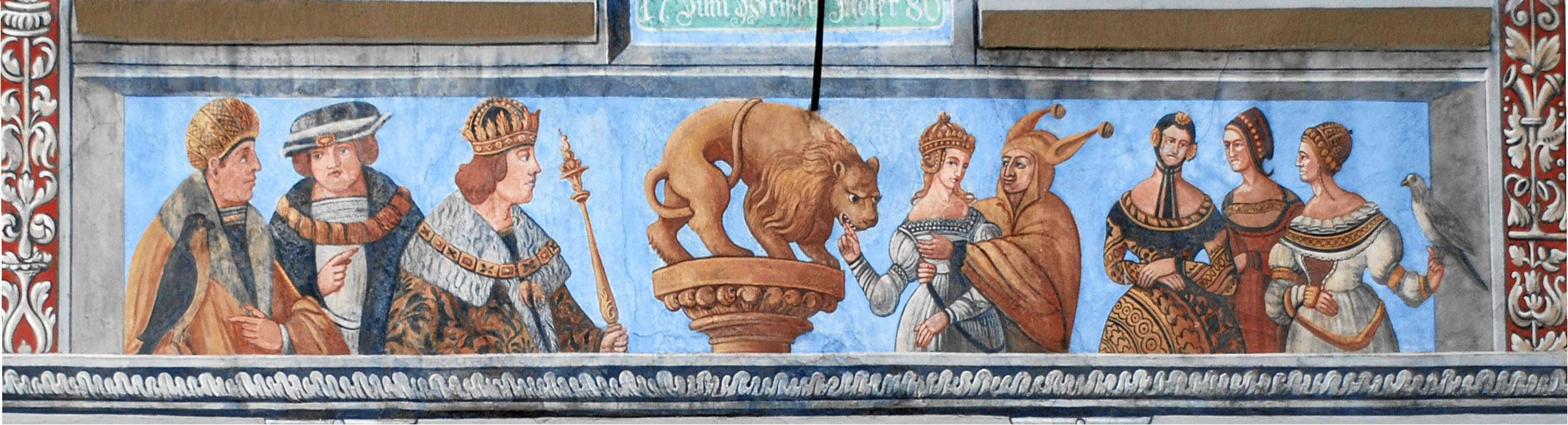 Figurenfries mit dem in der Frührenaissance beliebten Bocca-della-Verità-Motiv am Haus Zum Weissen Adler in Stein am Rhein. Um 1518.