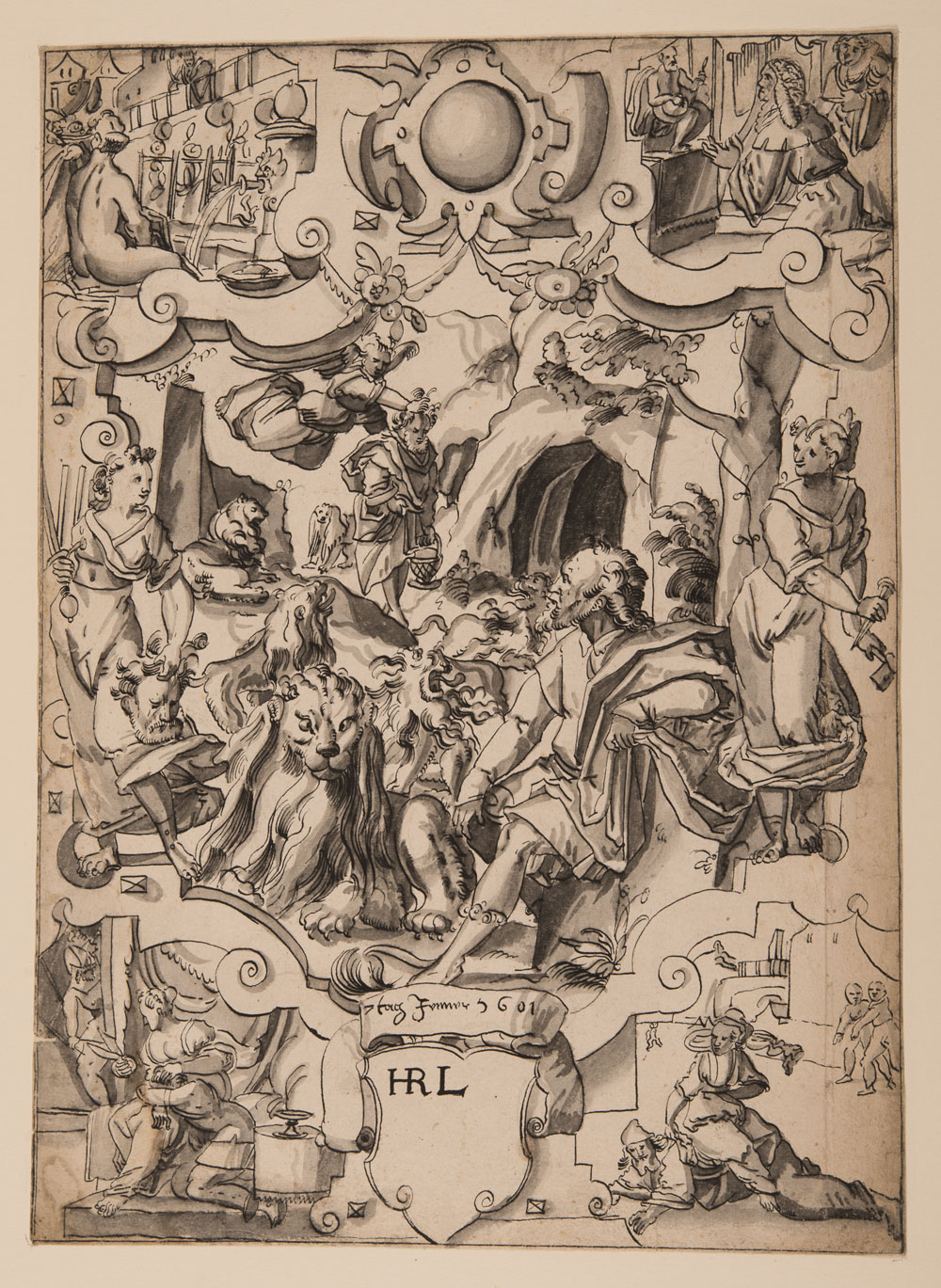 Das Hauptbild des Christoph Murer zugeschriebenen Scheibenrisses zeigt Daniel in der Löwengrube.