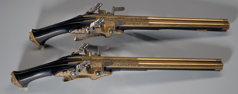 Doppellaufpistolen aus Zürich mit Steinschloss, hergestellt von Büchsenmacher Felix Werder (1591 - 1673), um 1645 - 1650