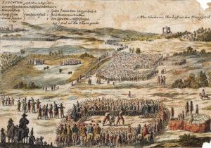 «EXECUTION. geschechen in Basel den 7 vornembsten Rebellen. Baslischen Unterthanen», kolorierte Radierung in den «Frankfurter Relationen», Ostern – Herbst 1653 (Ausschnitt).