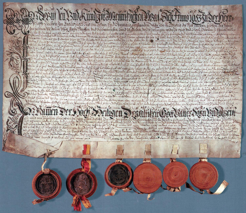 Huttwiler Bundesbrief der Bauern von 1653
