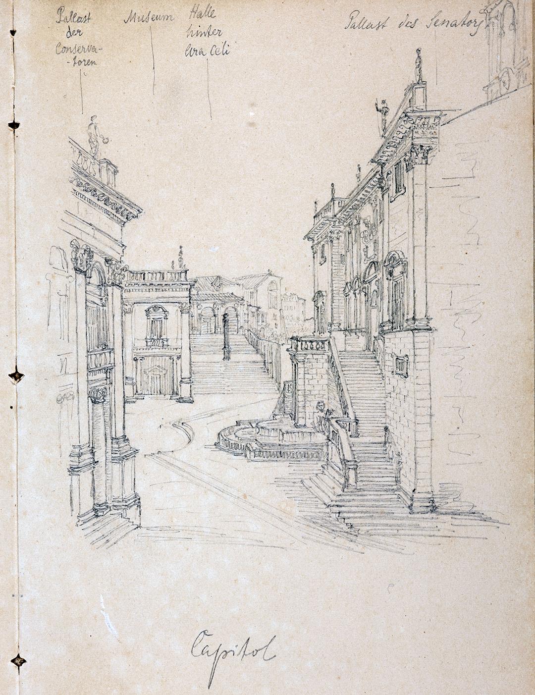 Jacob Burckhardt, Le Capitole à Rome, dessin