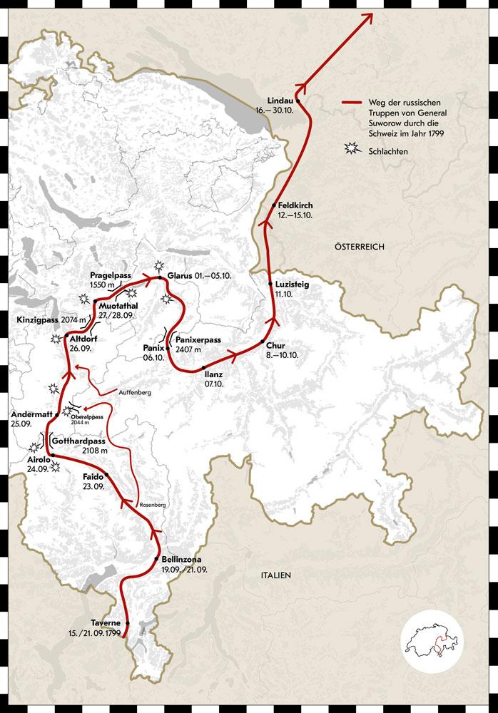 Weg durch die Schweiz der russischen Truppen von General Suworow.