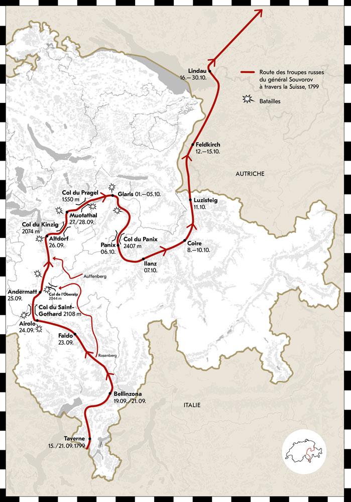 Route des troupes russes du général Souvorov à travers la Suisse, 1799.