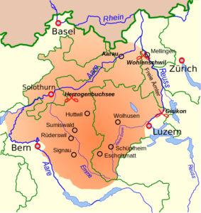 Gebiet der Aufständischen im Bauernkrieg von 1653: zwischen Aare und Reuss, nördlich davon Solothurn und ein Teil des Baselbiets; für einen Sieg der Untertanen hätte es auch die Bauern der Ostschweiz gebraucht.