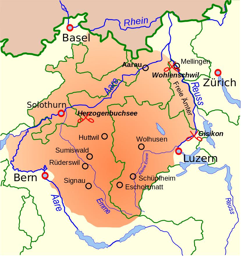 Gebiet der Aufständischen im Bauernkrieg von 1653