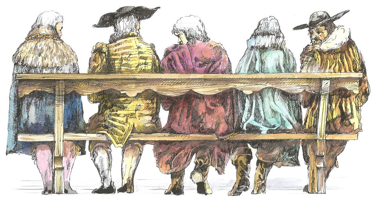 Ein Bote aus der Stadt, der am 28. Dezember 1652 den Entlebuchern die Nachricht von der Batzenabwertung überbringt und von diesen sogleich mit Vorwürfen eingedeckt wird. Illustration: Ludwig Suter, Beromünster