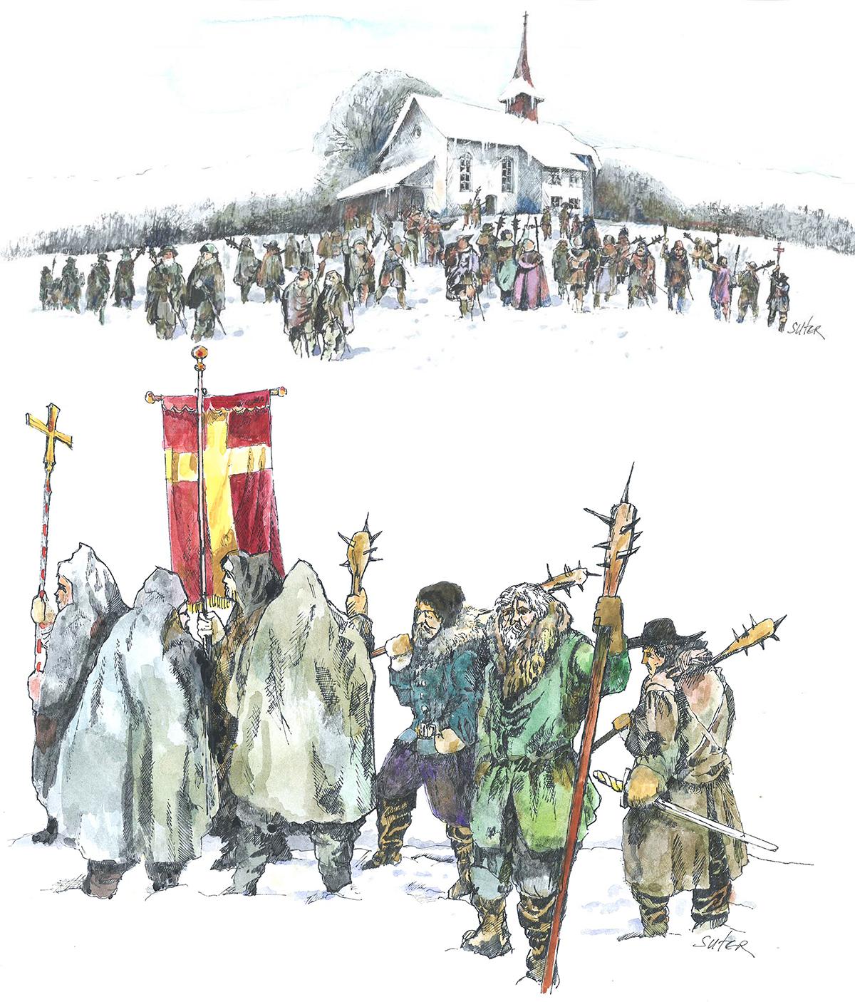 So könnte sich die Landeswallfahrt der Entlebucher zum Heiligkreuz 1653 abgespielt haben. Illustration: Ludwig Suter, Beromünster