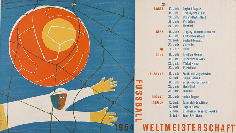 Plakat der Fussball-WM von 1954 in der Schweiz.
