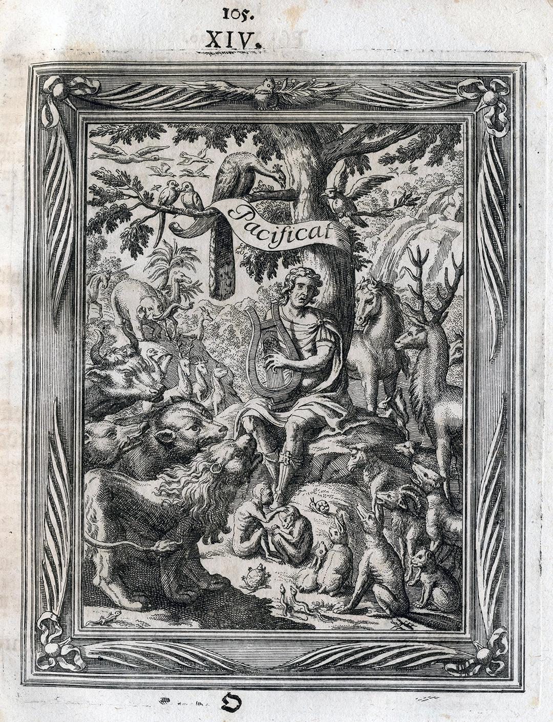Neujahrsblatt der Gesellschaft ab dem Musiksaal mit Orpheus und den Tieren, Zürich 1698.