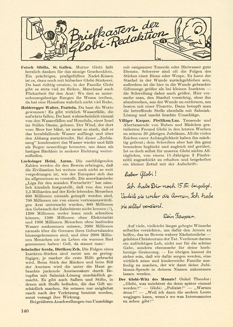 Brief von Kaspar Villiger an die Globi-Redaktion.