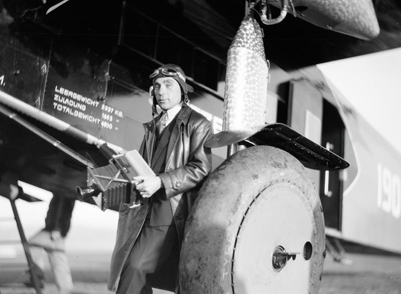 Walter Mittelholzer in front of the Fokker, 1930