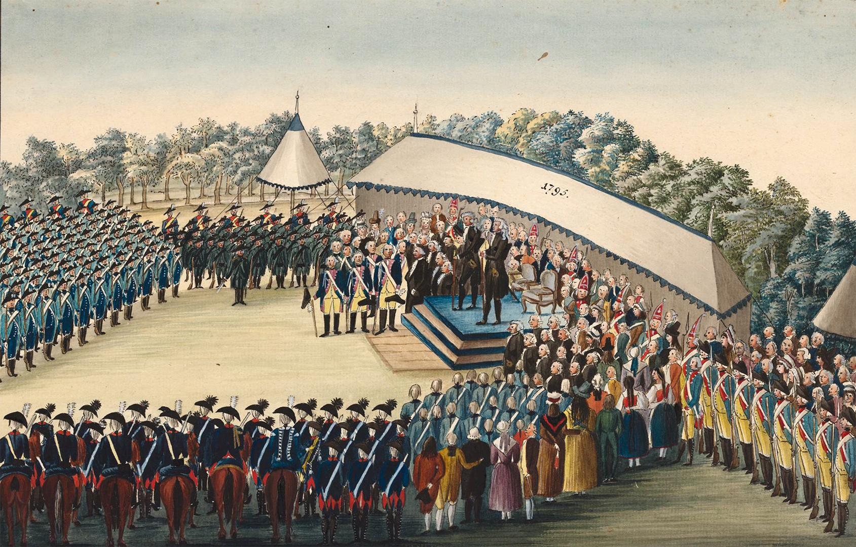 Am Ende nochmals eine Inszenierung von Macht und Hierarchie: Am 6. und 7. September 1795 entliess die Zürcher Obrigkeit auf dem Schützenplatz die nach Stäfa aufgebotenen Truppen. Aquarell, Maler unbekannt.
