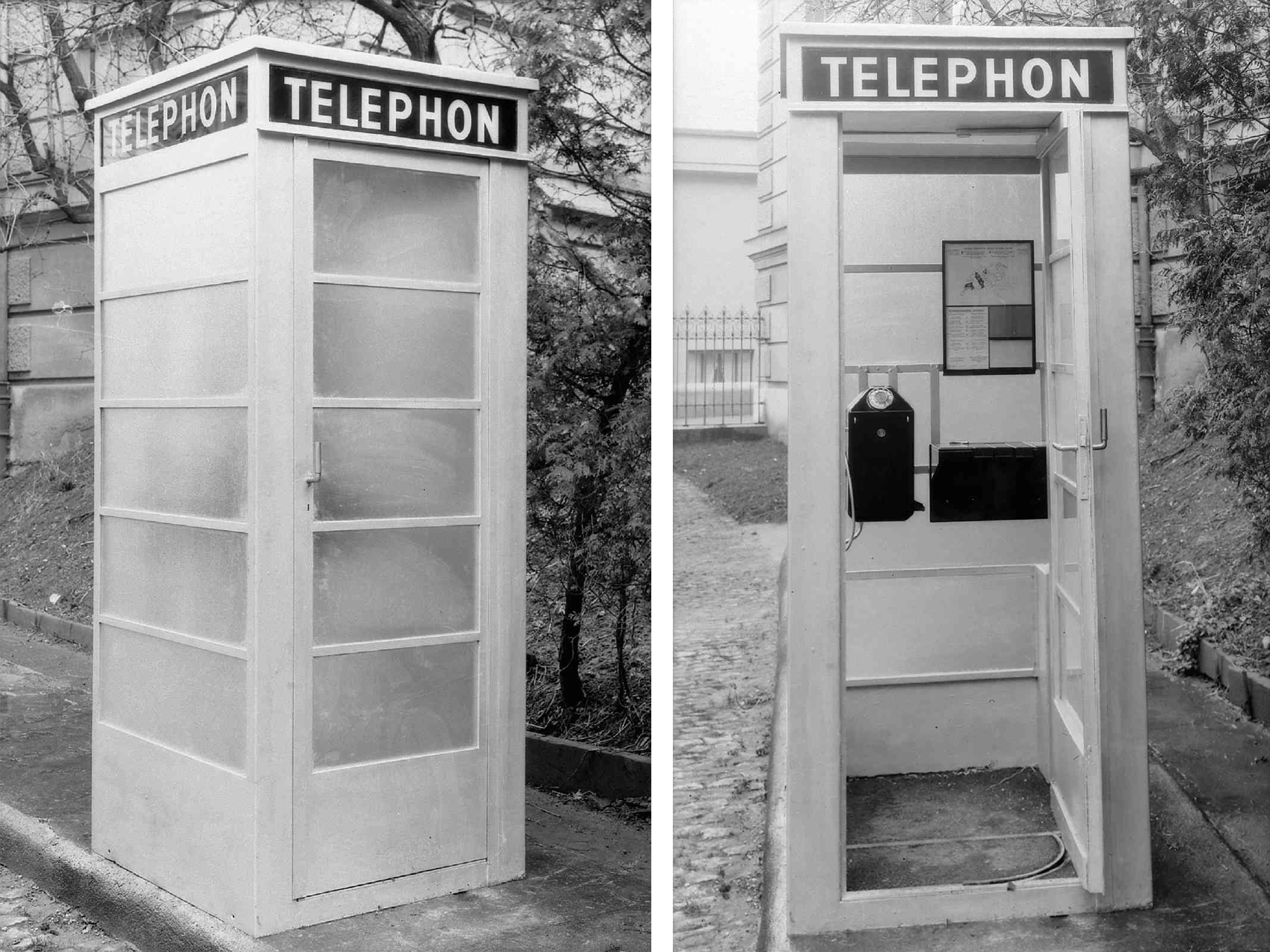 In dieser Eisen-Glas-Telefonkabine aus den 1930er sorgt Milchglas für Diskretion.