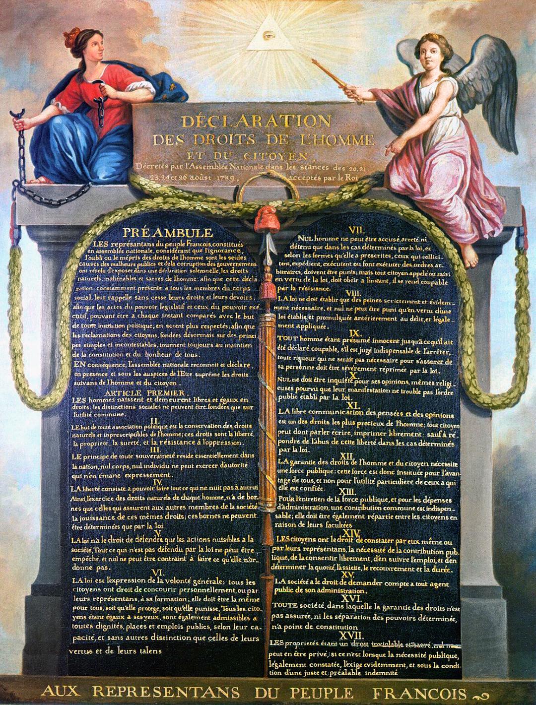 Erklärung der Menschen- und Bürgerrechte. Gemälde vermutlich von 1789, Maler unbekannt. Ausgerechnet eine Frau sprengt die Ketten und trägt nun die Insignien der Macht.