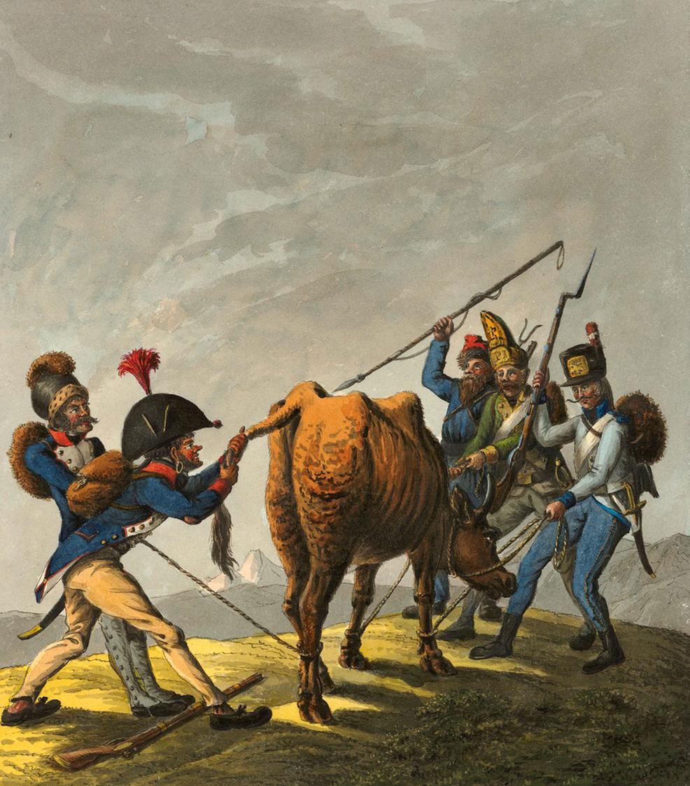Russische und Französische Soldaten streiten sich um die Schweizer Kuh. David Hess, 1801