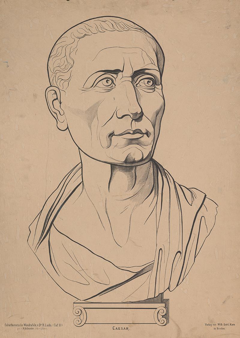 Schulwandbild von Julius Cäsar.