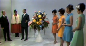 Still image from the first regular transmission in colour, which was broadcast on 1 October 1968.