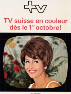 Publicité pour l'introduction de la télévision en couleurs le 1er octobre 1968, montrant une présentatrice.