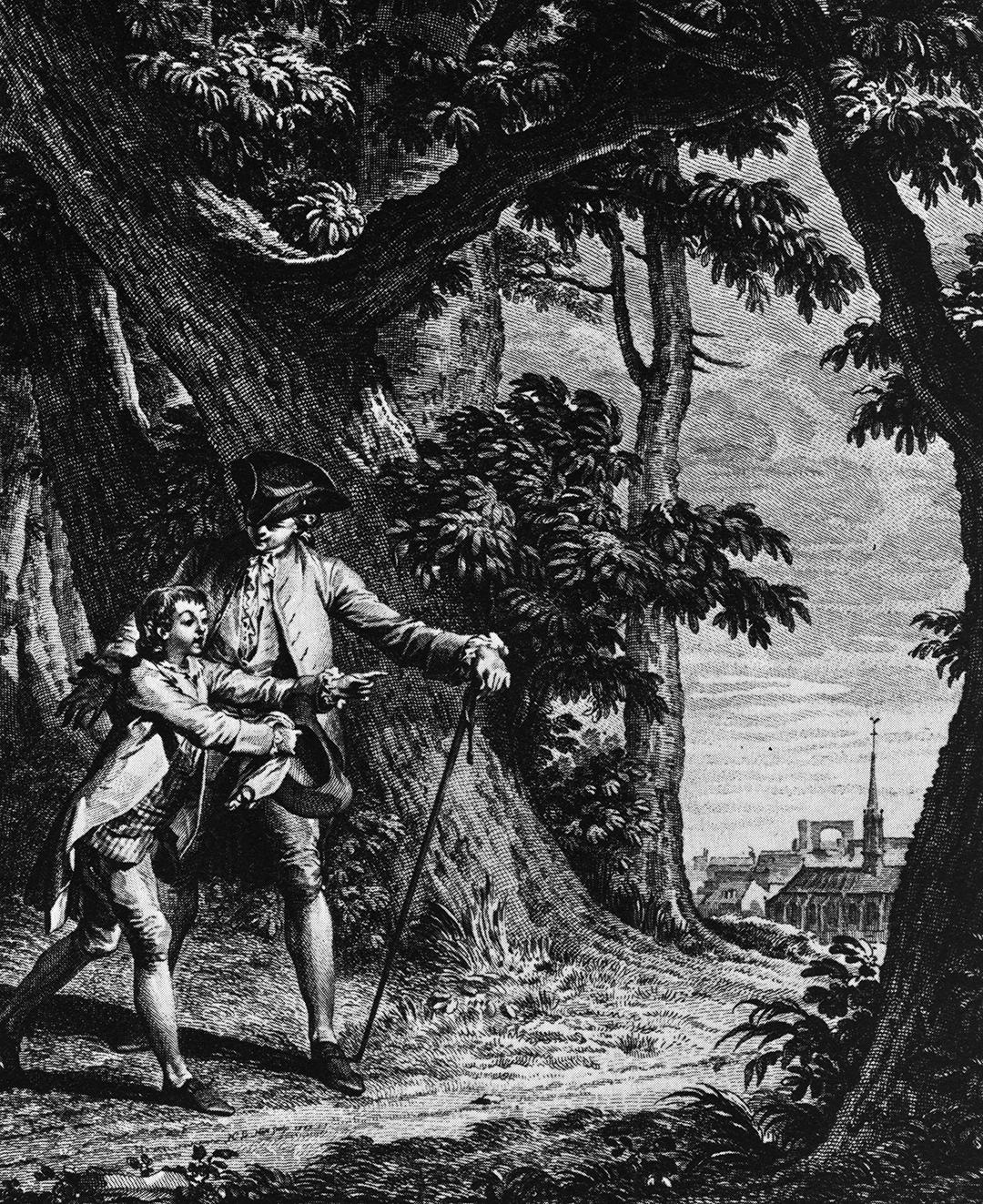 Illustration aus Jean-Jacques Rousseaus 1762 entstandenem Werk «Emile ou de l'éducation», Jean-Michel Moreau dem Jüngeren zugeschrieben.