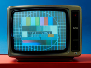 When there were still breaks in TV transmission: if no TV programme was being transmitted, the PTT/SRG broadcast a test card. A television test card was used to install receiving equipment, adjust receivers and diagnose receiver defects. Picture from 1979.