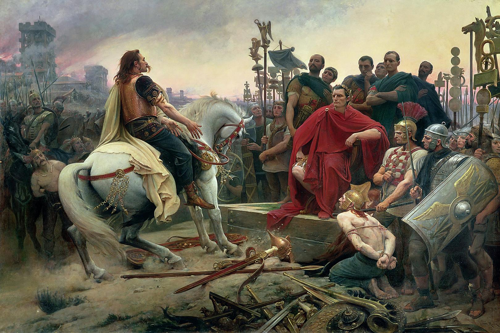 Der Gallische Anführer Vercingetorix wirft seine Waffen vor Julius Caesar nieder. Historiengemälde von Lionel Royer, 1899.