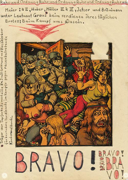Affiche de Hanspeter Frey inspirée de Robert Crumb, accrochée à la porte de la communauté.
