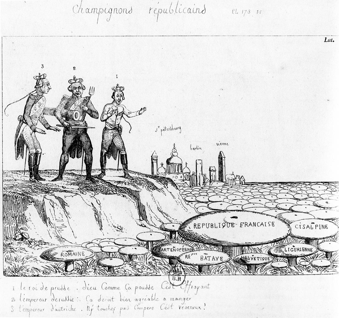«Champignons républicains», hinten die Türme von St. Petersbourg, Berlin, Vienne. Karikatur aus Frankreich, um 1799.