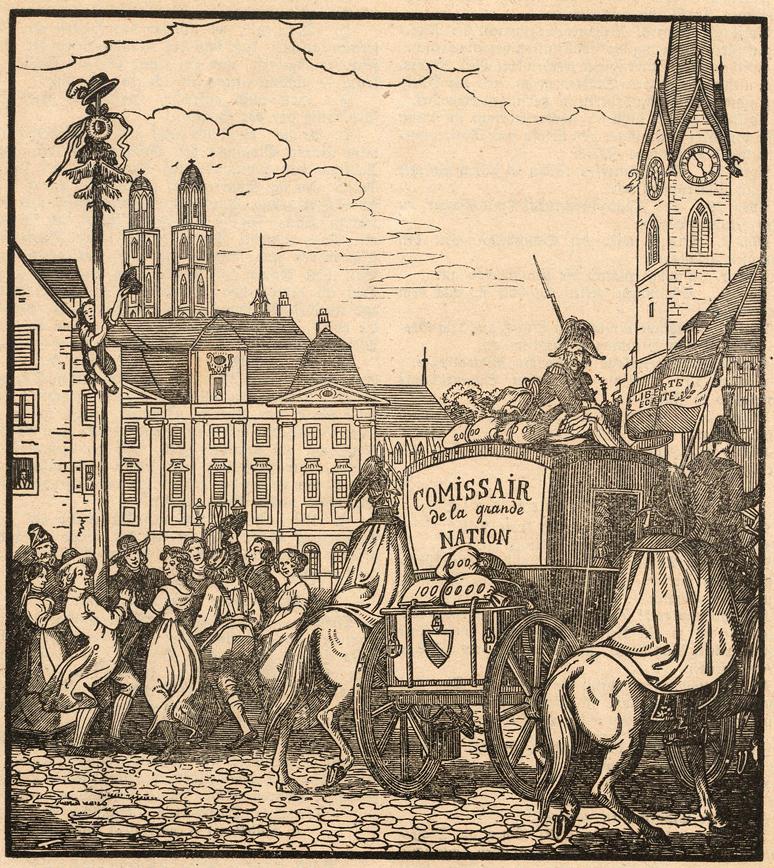 Im Zeichen von Liberté und Egalité wird der Zürcher Staatsschatz weggeführt.