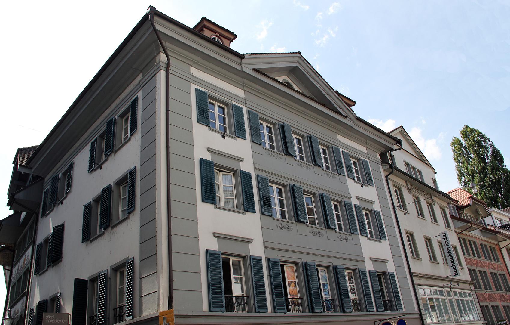 Luzern, Mühlenplatz 1, seinerzeit das Haus von Vinzenz Rüttimann (1769–1844), Idealtypus für politische Kontinuität vor und nach 1800.