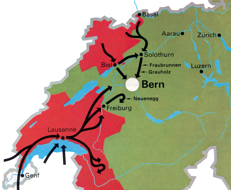 Vormarsch der französischen Truppen aus dem Raum Basel/Jura und Genf im Februar und März 1798.