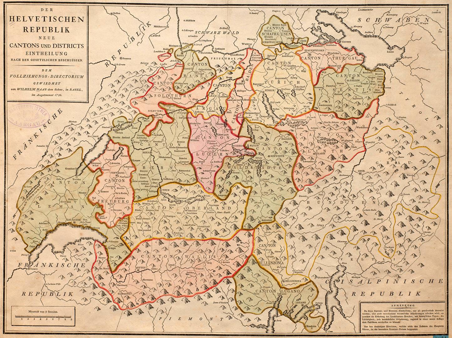 «Der Helvetischen Republik neue Cantons und Districts Eintheilung im Augstmonat 1798».