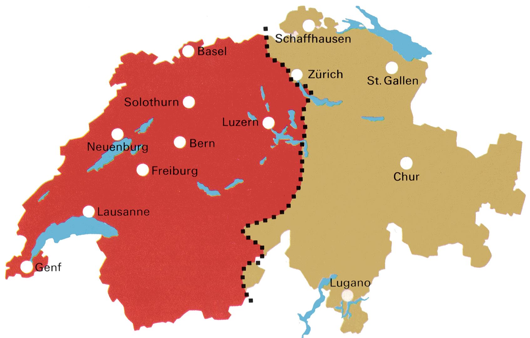 Frontverlauf nach der Ersten Schlacht bei Zürich, 4./5. Juni 1799.