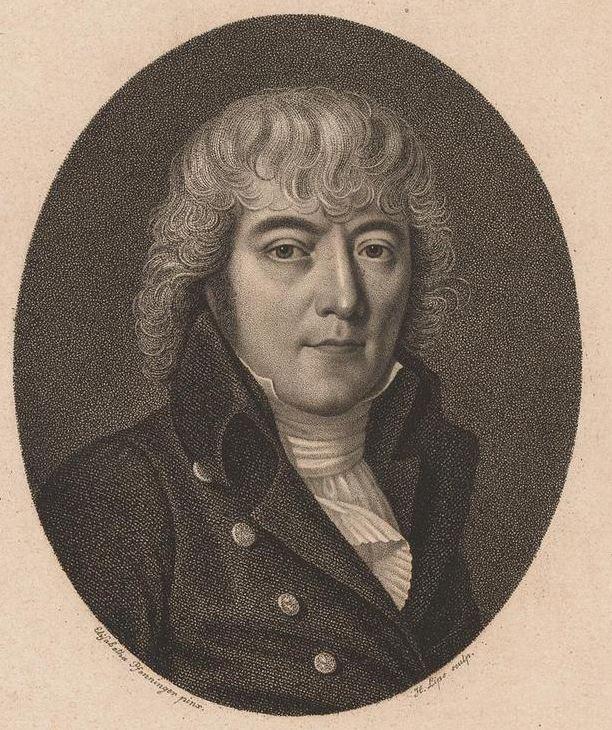Vinzenz Rüttimann auf einer Radierung von Johann Heinrich Lips. Nach einer Zeichnung von Elisabeth Pfenninger, 1808.
