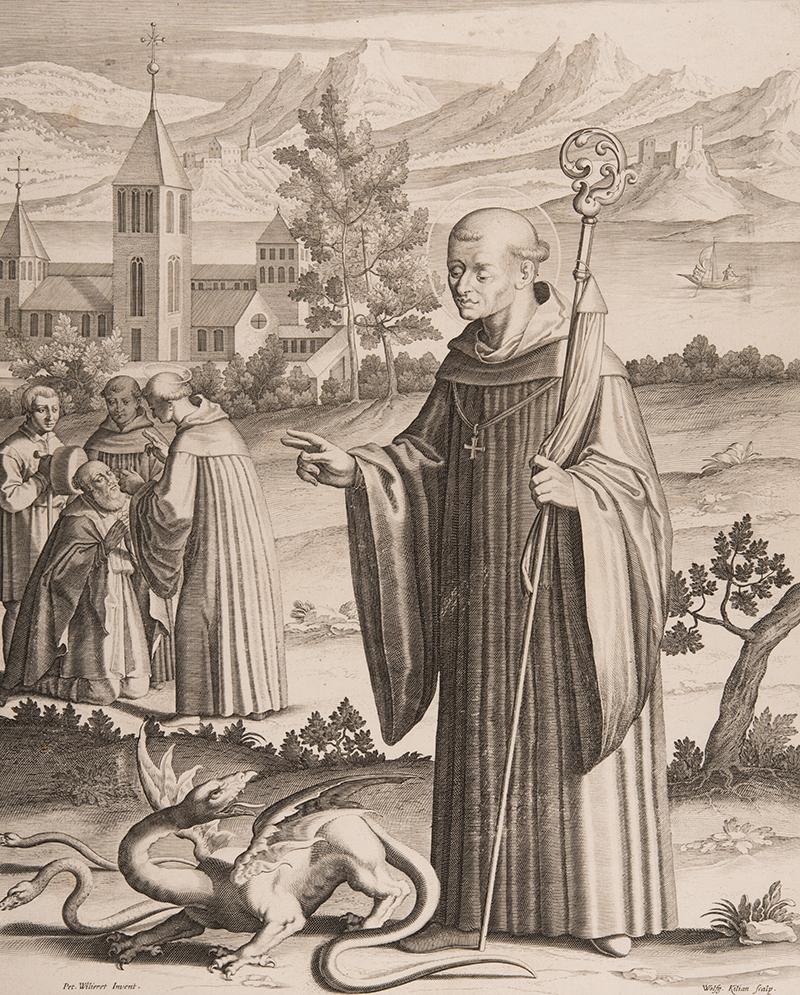 Druckgrafik des heiligen Gallus.