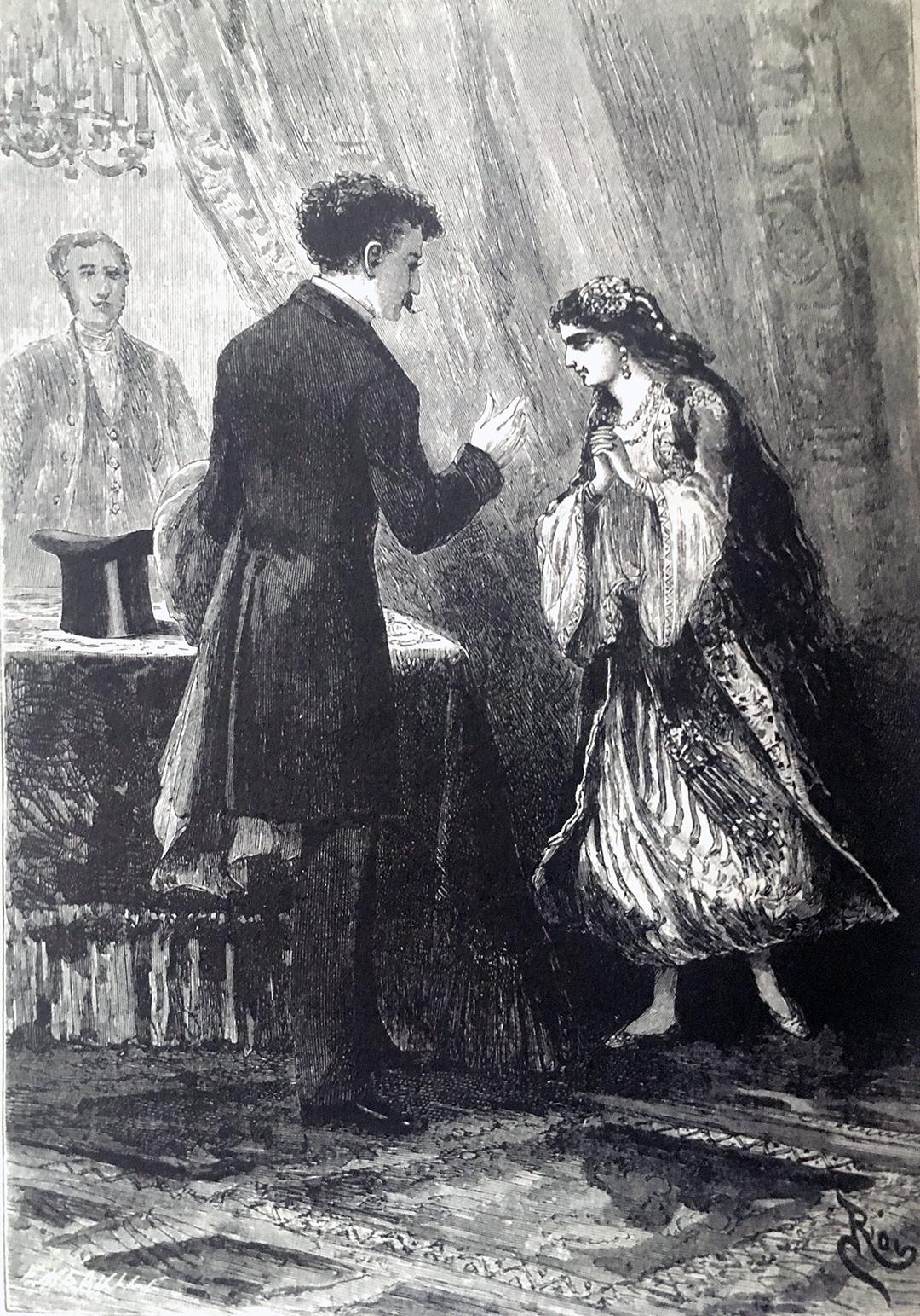 Haydée et le comte à Paris. Gravures publiées dans la première édition du roman d'Alexandre Dumas Le Comte de Monte Cristo (1846).