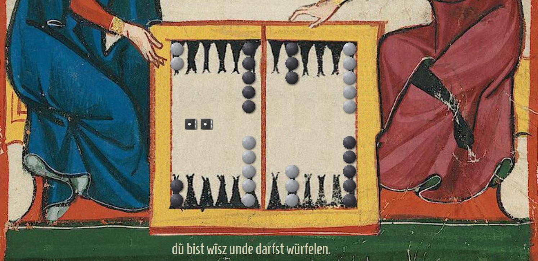 «dū bist wīsz unde darfst würfelen»: Mittelhochdeutsche Spielerführung und Buttons des Spiels «Manesse Gammon».