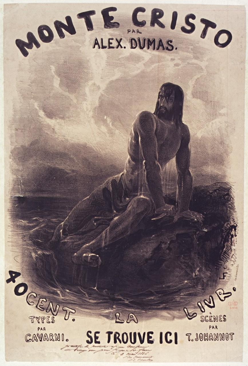Affiche de Louis Français pour Le Comte de Monte Cristo, 1846. Bibliothèque nationale de France