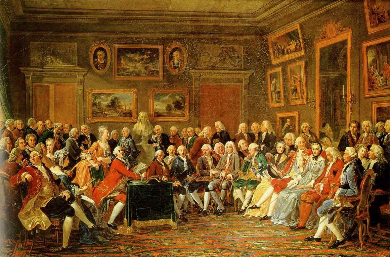 Ce tableau d'Anicet Charles Gabriel Lemonnier (1743-1824) montre une scène du salon littéraire de madame Geoffrin (assise à droite, tournée vers l'observateur). Lekain, un comédien (au milieu, habillé en rouge), lit la tragédie L'Orphelin de la Chine de Voltaire, lui-même représenté dans la pièce sous la forme d'un buste. Source: Wikimedia