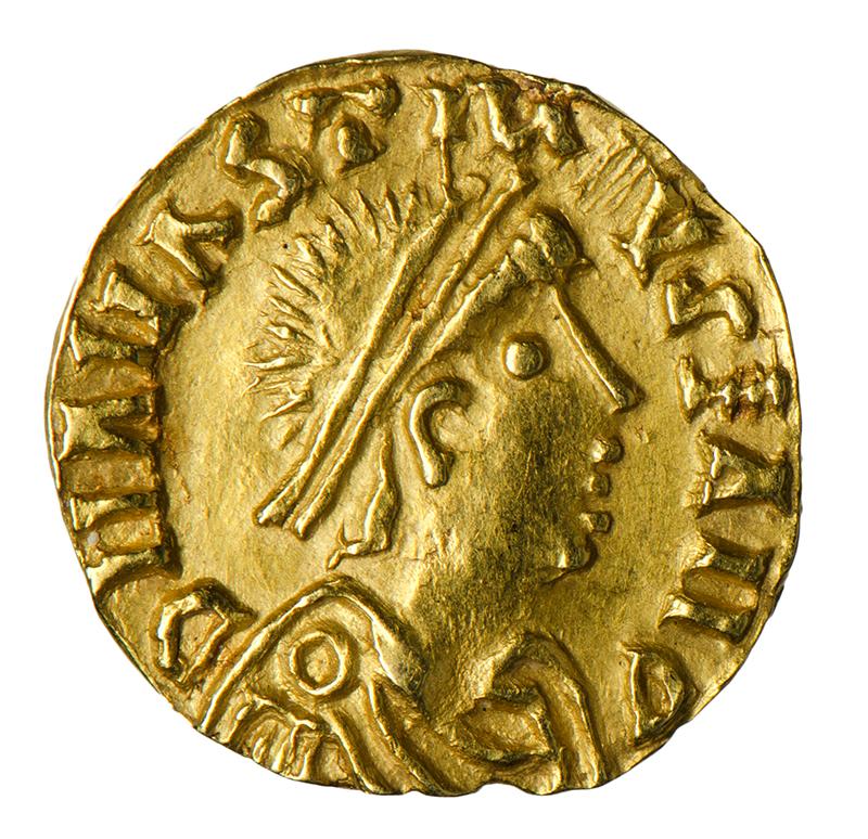 Porträt von Sigismund auf einer Goldmünze.