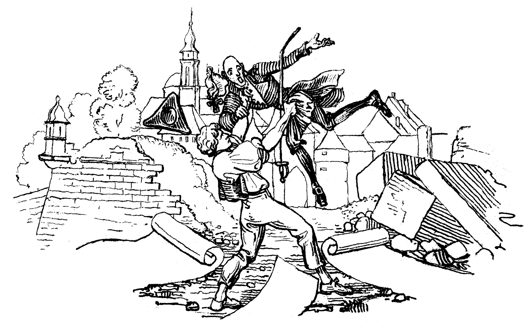 Martin Disteli, Aristokratenhosenlupf, um 1839.