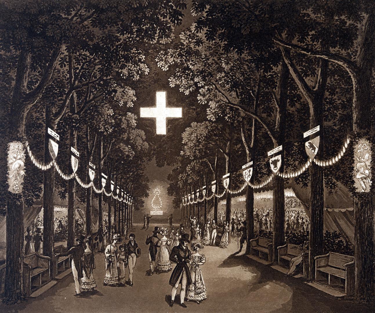 Fest auf der illuminierten Plattform-Promenade des Berner Münsters, 1827.
